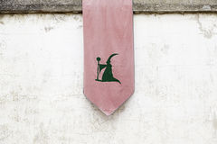 Banner with the symbol of a witch Stock Images