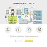 Banner system administrator configuring server Stock Photos