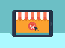 Banner with tablet. Page with online store open on tablet screen. Concept online shopping Stock Image
