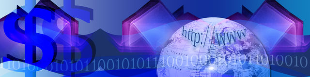 Banner Technology and E-business. Banner with an artistic abstract background with wave shapes. The globe, binary codes and $-signs are metaphors and leading to Stock Photography
