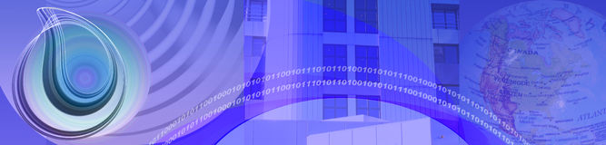 Banner Technology Media And Business. Blue / purple banner / header with abstract media circles binary codes business buildings and a part of our globe stock illustration