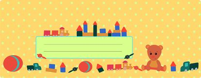 Banner with a teddy bear and a train of natural brown colors royalty free illustration