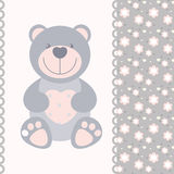 Banner with teddy bear. Vector banner with teddy bear Stock Photos