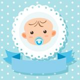 Banner template with baby in blue. Illustration Stock Photos
