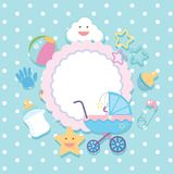 Banner template with baby items. Illustration Royalty Free Stock Photos