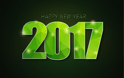 Banner template background Happy New Year 2017. Christmas background with green polygonal figures in 2017 Stock Image