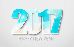 Banner template background Happy New Year 2017. Design White Christmas background with blue polygonal numbers 2017. Vector illustration Royalty Free Stock Image