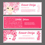 Banner template, beautiful female face Stock Photography
