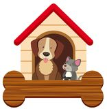 Banner template with cute dog and cat at pethouse. Illustration Stock Image