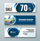 Banner template design. Presentation concept. Blue Corporate business banner template background. Horizontal banner royalty free illustration