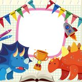 Banner template with dinosaurs and trophy. Illustration Stock Photos