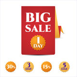 Banner template discounts on a white background. Big sale, only today, 5 day. . Sale and special offer stock illustration