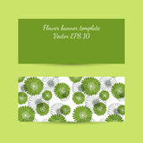 Banner template with floral composition in bright green colors Stock Photos