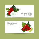 Banner template with floral lily composition in bright colors. Royalty Free Stock Photo