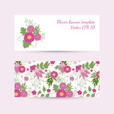 Banner template with floral pattern in bright colors. Vector EPS 10 Royalty Free Stock Images
