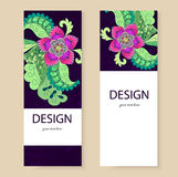 Banner template, flowers, Doodle. Sample leaflets, flyers Stock Photo