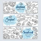 Banner template hand drawn seafood. Vector banner template hand drawn seafood design with mussel, fish salmon, shrimp. Lobster, squid, octopus, scallop, lobster Stock Image