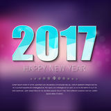 Banner Template Happy New Year. Design polygonal 2017 text on blurred background Stock Photography