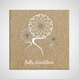 Banner template with a herb on cardboard background with dandelions. Used for scrap booking, greeting card, wrapping Royalty Free Illustration