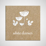 Banner template with a herb on cardboard background with white daisies. Used for scrap booking, greeting card, wrapping Stock Image