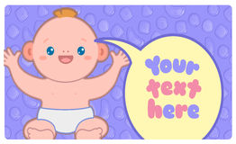 Banner template with kawaii baby and text. Seamless pattern with candies on background. Vector illustration Stock Image