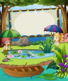 Banner template with kids by the pond. Illustration Royalty Free Stock Photos