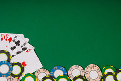 Banner template layout mockup for online casino. Green table, top view on workplace. royalty free stock photos