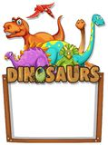 Banner template with lots of dinosaurs. Illustration Stock Images