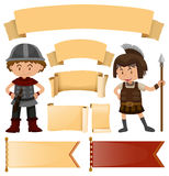 Banner template in medieval styles and soldiers Royalty Free Stock Photography