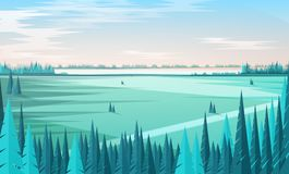 Banner template with natural scenery or landscape, green coniferous forest trees on foreground, large field, horizon. Line and clear sky on background. Colored vector illustration
