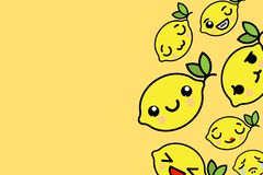Banner template with place for text - funny Emoji lemons Vector illustration royalty free illustration