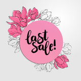 Banner template with round paper, delicate sketch magnolia flowe. Rs and lettering Last Sale Royalty Free Stock Photos