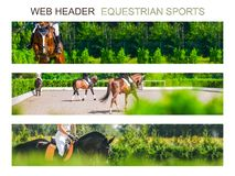 Banner template set, equestrian sports. Collection of horizontal web header designs, 4500 x 900 pixels, green trees and rider with horse as a background, copy royalty free stock photos