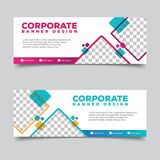 Banner template with square abstract background illustration. For business promotion designs stock illustration