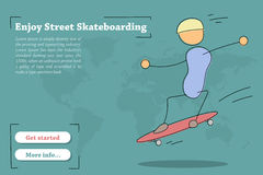 Banner template for Street Skateboarding. Vector banner template for training Street Skateboarding. Hand drawing illustration of young riding man on skateboard Stock Photo