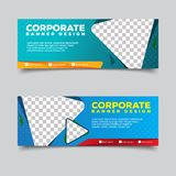 Banner template with triangle abstract background illustration. For business promotion designs royalty free illustration