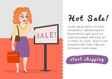 Banner template with young female shopper shocked sale Stock Images