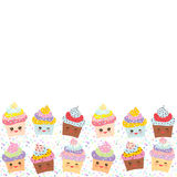 Banner template for your text, Card design with Cupcake Kawaii funny muzzle with pink cheeks and winking eyes, pastel colors on wh Royalty Free Stock Photos