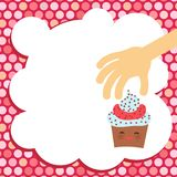 Banner template for your text, Card design with Cupcake Kawaii funny muzzle with pink cheeks and winking eyes, pastel colors on wh. Ite, pink polka dot Royalty Free Stock Image