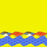 Banner template for your text. pattern dragon fish scales simple Nature background with japanese wave circle pattern yellow blue r. Ed background. Vector Royalty Free Stock Photo