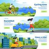 Banner templates with bike, roller and motorbike. Vector set of bright banner templates with bike, roller and motorbike. City, forest, river and mountains on Stock Images