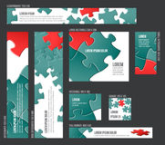 Banner templates collection with abstract puzzle background Stock Photo