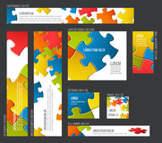 Banner templates collection with abstract puzzle background Royalty Free Stock Photos