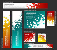 Banner templates collection with abstract square background Royalty Free Stock Image