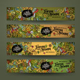 Banner templates set with doodles camping theme Stock Photo