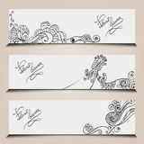 Banner templates set with floral elements. Stock Images