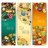 Banner templates vector collection. Tea party. Royalty Free Stock Images