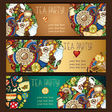 Banner templates vector collection. Tea party Royalty Free Stock Photography