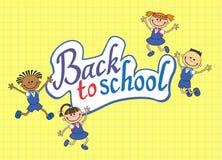 Banner terug naar het meisjesleerling van de schooljongen het van letters voorzien embleemvector Stock Afbeelding