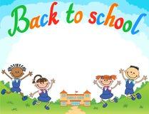 Banner terug naar het meisjesleerling van de schooljongen het van letters voorzien embleemvector Stock Fotografie